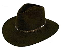 """The Stetson Pawnee is a top-quality western hat included in the Stetson Gun Club Collection of durable felt hats. Interior leather sweatband for the 'ultimate in fit and comfort'. The Stetson Pawnee has a 4 1/4"""" teardrop crown and a dimension..."""