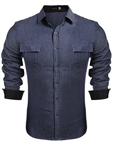 Hasuit Herren Jeans Hemd Langarm Freizeit Klassische Mode in europäischen Größen