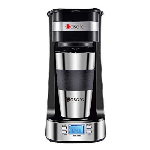 Casara Single Cup Coffee Maker- with 14 oz. Double-wall Stainless Steel Travel Mug and Reusable Filter- Personal Coffee Maker with programmable timer and LCD display