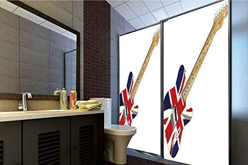 Horrisophie dodo No Glue Static Cling Glass Sticker,Union Jack,Classical Electric Guitar UK Flag Great Britain Music Instrument Decorative,Light Brown Silver Black,39.37
