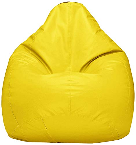 Hiputee Leatherette Bean Bag Cover Without Beans  XXL, Yellow