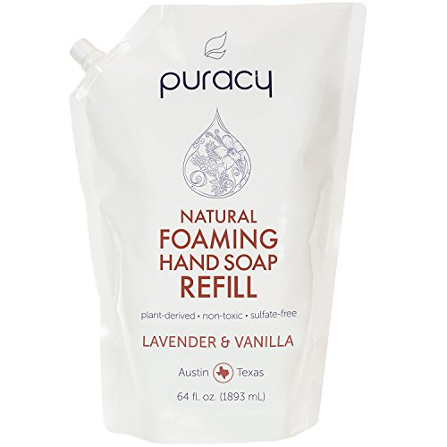 Puracy Natural Foaming Hand Soap Refill, Sulfate-Free Moisturizing Hand Wash, Lavender and Vanilla, 64 Fluid Ounce -