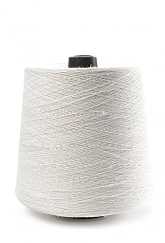 100% Linen Lace Yarn Black White Natural 1lb Cone 3-ply Flax (White)