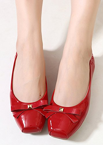 Shoes Flat Foldable Red Women's On Insun Slip Ballet IYx5aqYwC
