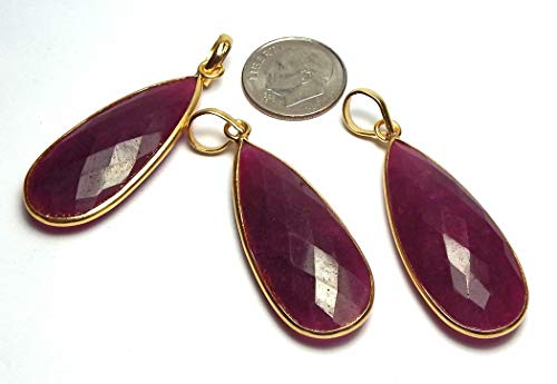 Ruby RED Quartz 14k Gold Vermeil 34mm Faceted Teardrop Pendant Bead /r8