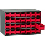 Akro-Mils 19228 17-Inch W by 11-Inch H by 11-Inch D 28 Drawer Steel Parts Storage Hardware and Craft Cabinet, Red Drawers by Akro-Mils