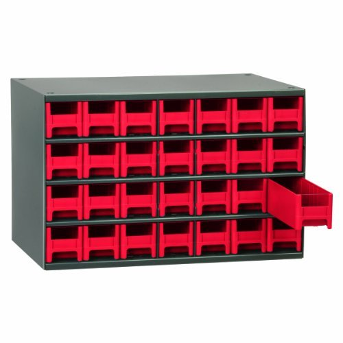 Akro-Mils 19228 17-Inch W by 11-Inch H by 11-Inch D 28 Drawer Steel Parts Storage Hardware and Craft Cabinet, Red Drawers by Akro-Mils by Akro-Mils
