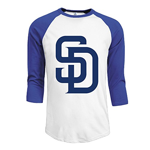 HOTOU Men's SD Baseball 3/4 Sleeve Tee Shirts RoyalBlue