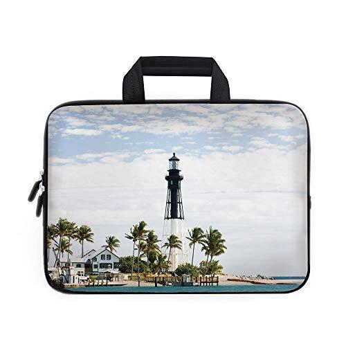 United States Laptop Carrying Bag Sleeve,Neoprene Sleeve Case/Hillsboro Lighthouse Pompano Beach Florida Atlantic Ocean Palms Coast Decorative/for Apple MacBook Air Samsung Google Acer HP DELL Lenovo
