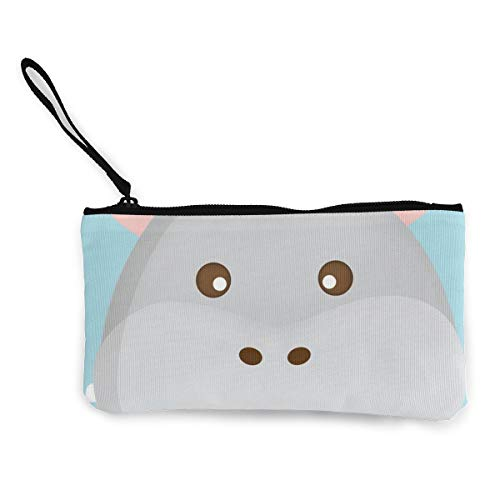 - Coin Purse Hippopotamus Face On Cloud Background Men Zip Canvas Wallets ChangePersonalized Bag