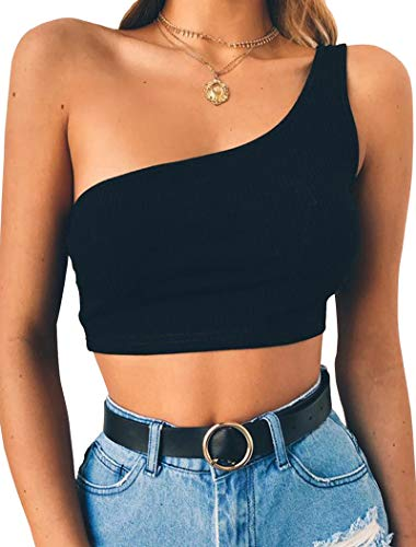 078400840f Minclouse Women's Sexy Tank Tees One Shoulder Strappy Crop Tops ...