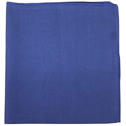 Mechaly Set of 12 Solid 100% Polyester Unisex Bandanas   One Dozen,Navy Blue,22 in ()