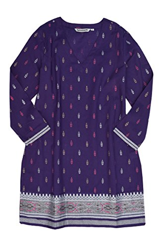 Womens Kurtas - Kriti Block Printed Cotton V Neck Tunic: Gold/Silver Print On Purple: SZ L