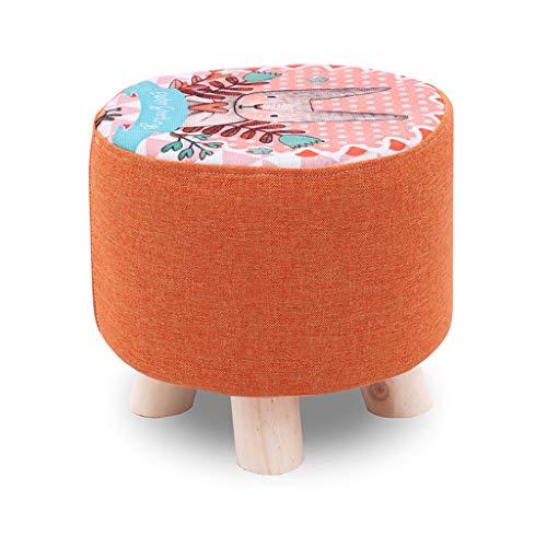 HZTWS Sofa Stool Fashion Creative Rabbit Pattern Home Solid Wood Stool Living Room Bedroom Small Bench Modern Creative Short Stool (Color : Orange)