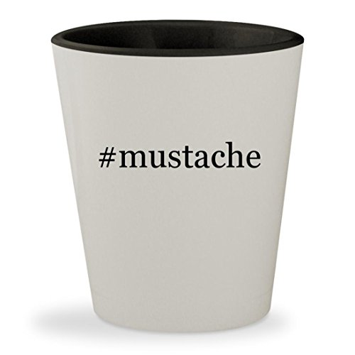 #mustache - Hashtag White Outer & Black Inner Ceramic 1.5oz Shot - Black Handlebar Sunglasses Mustache