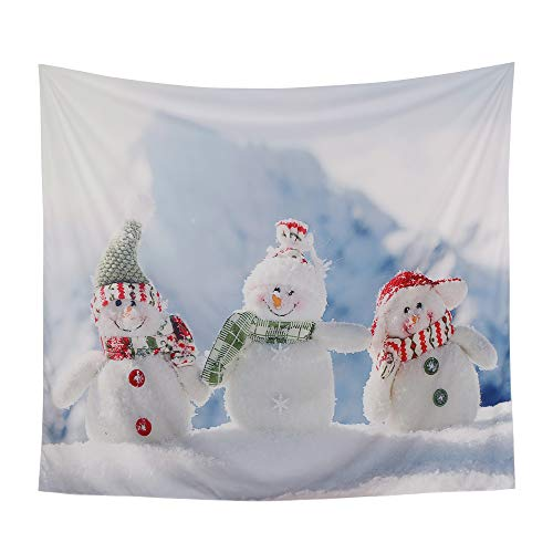 YAMUDA Christmas Wall Tapestry, Hippie Bohemian Wall Hanging, Santa, Snowman, Elk, Christmas Tree, Gift Boxes, Apartment Party Decor Collection, Bedroom Living Room Dorm Tapestries (3 Small Snowman) (Wall Tapestry Snowman)