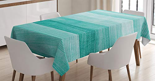 Ambesonne Teal Tablecloth, Painted Wood Board with Horizontal Lines Birthdays Easter Holiday Print Backdrop Image, Dining Room Kitchen Rectangular Table Cover, 60 W X 84 L Inches, -