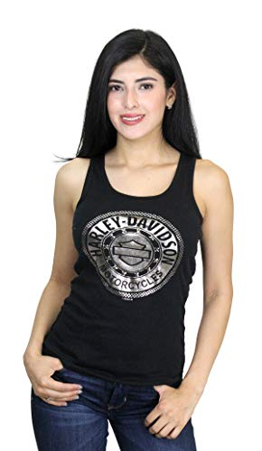 Harley-Davidson Womens Chrome Circle B&S Studded with Foil Print Black Tank (X-Large)