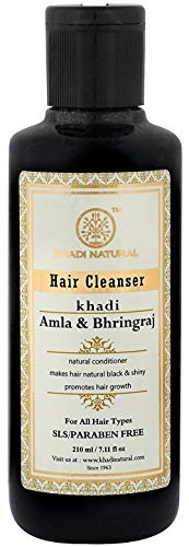 Khadi Natural Herbal Amla and Bhringraj Shampoo for all Hair Types (210 ml) (Mild Shampoo For Daily Use In India)