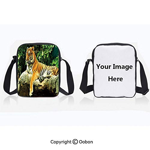 Polyester Anti-Theft Cross-Body Bag Unisex Adult Resting Feline in the Forest on a Large Rock Sublime Carnivore Beast Beautiful Nature Multicolor Zipper Bucket Anti Theft Bag For ()