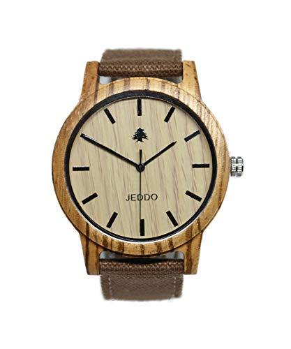 JEDDO Reloj de Madera, Correa Marrón, Peso Ligero, Unisex, con Grabado de Cedro: Amazon.es: Relojes