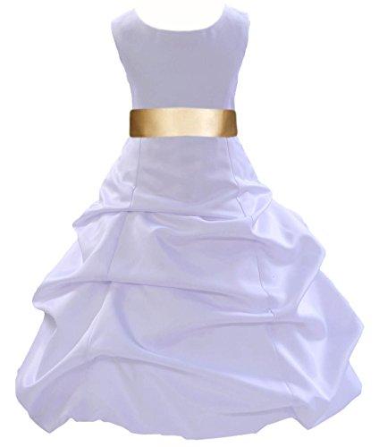 ekidsbridal Satin Pick-Up White Flower Girl Dresses First Communion Dress 806S 10