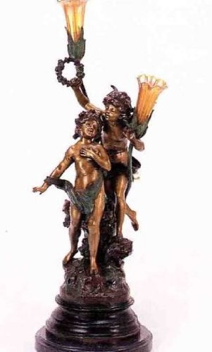 ''Love Song'' 33''H Distinctive Solid Bronze Sculptural Children Lamp by A. Moreau