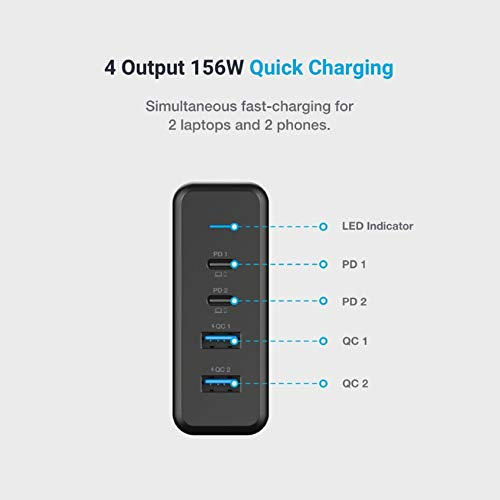 Powerology 4-Port Quick Charging Power Terminal 156W UK, Charging Station for Mobile Phone & Laptop, 2019 MacBook Pro, 2020/2018 MacBook Air, 2020/2018 iPad Pro, iPhone 11 Pro Max/11 Pro/11 - Black