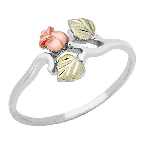 Petite Rose Ring, Sterling Silver, 12k Green and Rose Gold Black Hills Gold Motif, Size 9 by Black Hills Gold Jewelry
