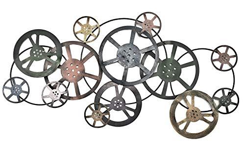 Bellaa 21833 Metal Wall Art Movie Reel Modern Abstract Industrial ()
