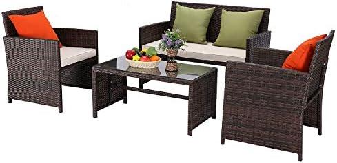 Furnimy 4 Pieces Rattan Wicker Patio Furniture Set Outdoor Conversation Sofa Set Mix Brown