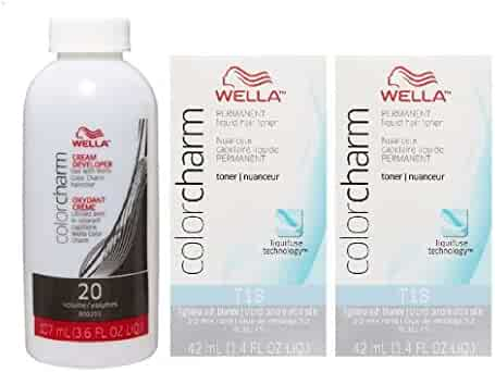 Wella Color Charm T18 Lightest Ash Blonde 2-Pack with CC Cream 20 Developer 3.6 oz. - COMBO DEAL!