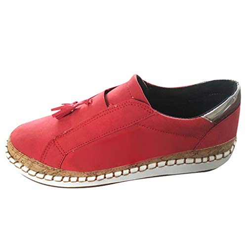 TnaIolral Ladies Summer Shoes Fashion Flats Tassel Round Toe Casual Non-Slip Breathable Sneakers (US:5, Red) -