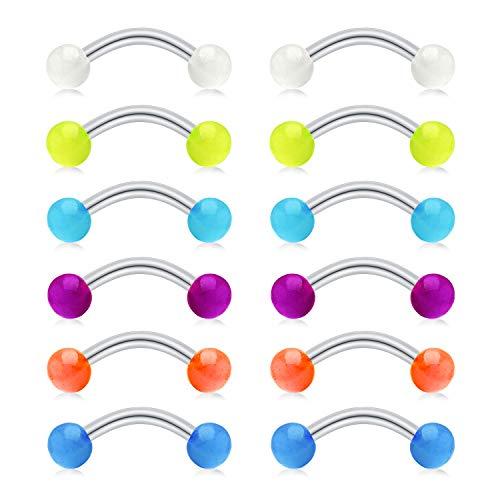 FECTAS 14G Curved Barbells Snake Eyes Tongue Rings Nipplerings Belly Eyebrow Ring Stainless Steel Bars Glow Acrylic Balls Piercing Jewelry 1/2in(12mm) - Glow Dark Eyebrow Rings