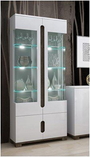 Furniturefactor Lorenz High Gloss White Display Cabinet 2 Glass Door