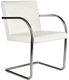Beau Brunston Leather Cantilever Chair With Tubular Steel Frame   White Leather