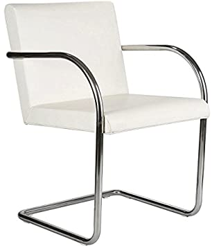 Brunston Leather Cantilever Chair With Tubular Steel Frame   White Leather