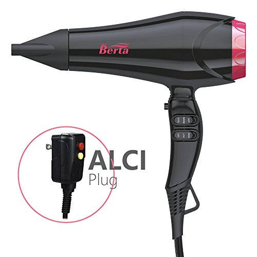 BERTA 1875W Negative Ions Hair Blow Dryer with 2 Speed and 3 Heat Setting Ceramic Hair Dryer, Black