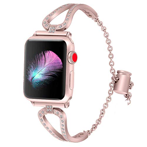 Sodoop Women Watch Bracelet Compatible for Apple Watch Series 4 3 2 1 42/44mm,Adjustable Stainless Steel Rhinestone Jewelry Bangle Cuff for Apple Watch Series 4 3 2 1 Smart Watch,42/44mm