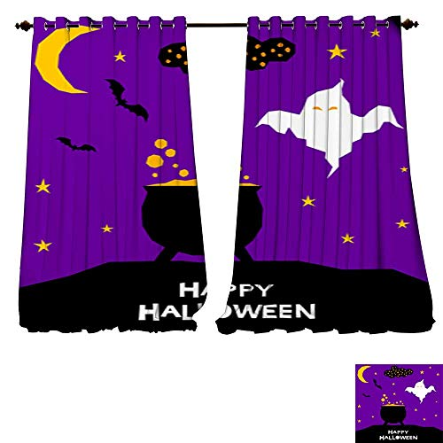 DESPKON-HOME Customized Curtains Happy Halloween Card Template Abstract Halloween Pattern for Design Card Party Invitation Poster ALB Thermal Insulated Blackout Curtains -W96 x L96/Pair ()