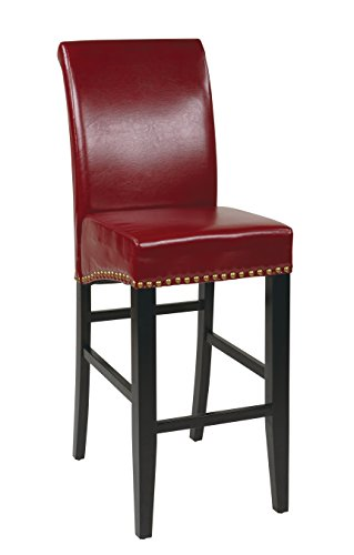 Office Star Metro Bonded Leather Parson's Barstool with Nailhead Accents, 30-inch, Red