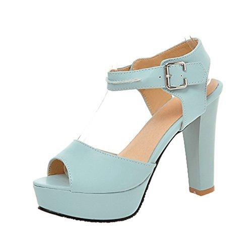 VogueZone009 Women Buckle PU Peep-Toe High-Heels Solid Sandals, CCALP013696 Blue
