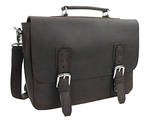 Vagabond Traveler Full Grain Leather Laptop Bag with Clasp Lock L55. DB by Vagabond Traveler