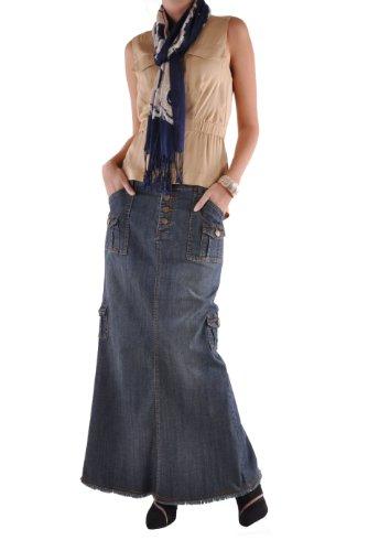 Long Cargo Skirt - Style J Charming Cargo Long Denim Skirt-Blue-36(16)