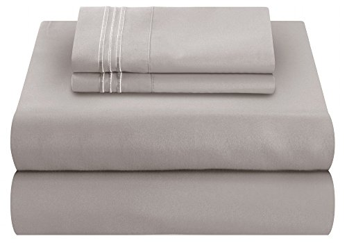Mezzati Luxury Bed Sheet Set - Soft and Comfortable 1800 Prestige Collection - Brushed Microfiber Bedding (Silver Light Gray, Queen Size)