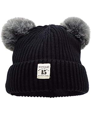 Baby Boys Girls Winter Warm Knitted Cozy Pom Pom Slouchy Beanie Hat Snowboarding Ski Outdoor Cap