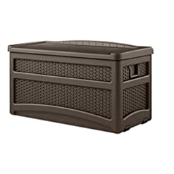 Deck Boxes Suncast 73 Gallon Resin Wicker Patio Storage Box with Wheels and Seat, Mocha outdoor deck boxes