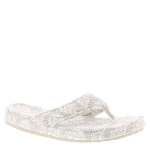 Acorn Women's Summerweight Spa Cotton Thong Grey Leaf X-Large - Acorn Flops Flip
