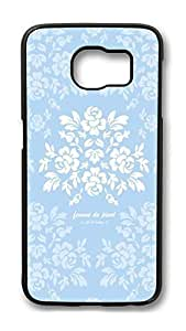 Brian114 Case, S6 Case, Samsung Galaxy S6 Case Cover, Blue And White Pattern Retro Protective Hard PC Back Case for S6 ( Black )