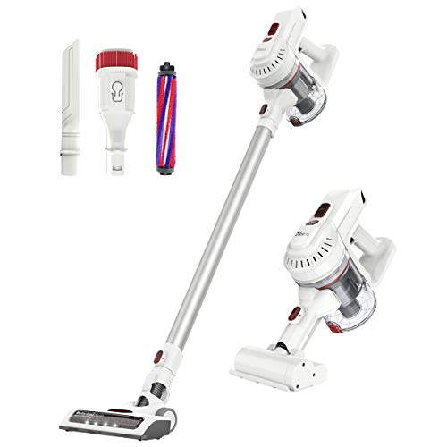 Dibea E19 Lightweight Cordless Vacuum Cleaner 150W Powerful Suction 2 in 1 Bagless Rechargeable Vacuum Cleaner Hard Floor Carpets Pet Hair White